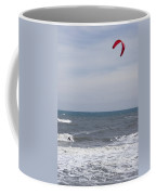 Kiteboarder With Kite In The Waves Coffee Mug by Skip Brown