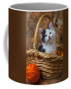 Kitten In Basket With Orange Yarn Coffee Mug