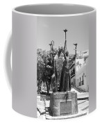 La Rogativa Sculpture Old San Juan Puerto Rico Black And White Coffee Mug by Shawn O'Brien