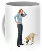 Labrador Golden Retriever Pup Chewing Coffee Mug