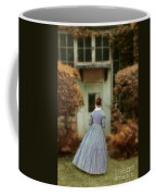 Lady In 19th Century Clothing By Conservatory Coffee Mug