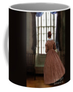 Lady In 19th Century Clothing Looking Out Window Coffee Mug