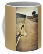 Lady In Gown Sitting By Road On Suitcase Coffee Mug