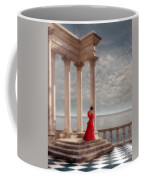 Lady In Red Gown By The Sea Coffee Mug