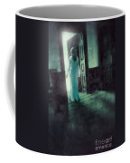 Lady In White Gown Walking Through A Mysterious Doorway Coffee Mug