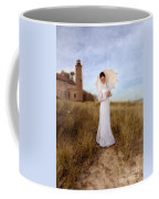 Lady In White With Parasol By The Sea Coffee Mug