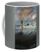 Lady Wading Into The Sea In The Early Morning Coffee Mug