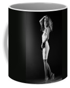 Lady With Curly Hair Bw Coffee Mug
