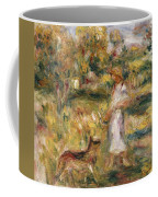 Landscape With A Woman In Blue Coffee Mug by Pierre Auguste Renoir