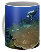 Large Staghorn Coral And Scuba Diver Coffee Mug