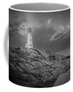 Lighthouse In The Moonlight At Peggy's Cove Nova Scotia Canada Coffee Mug