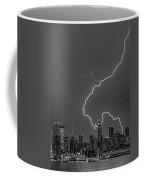 Lightning Bolts Over New York City Bw Coffee Mug by Susan Candelario