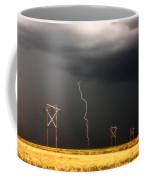 Lightning Striking Behind Saskatchewan Power Line Coffee Mug