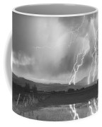 Lightning Striking Longs Peak Foothills 4bw Coffee Mug