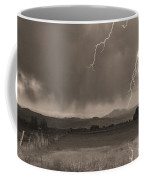 Lightning Striking Longs Peak Foothills 5bw Sepia Coffee Mug