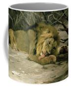 Lion Reclining In A Landscape Coffee Mug