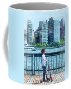 Little Girl On Scooter By Manhattan Skyline Coffee Mug