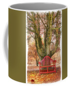 Little Red Bench Coffee Mug by Debra and Dave Vanderlaan