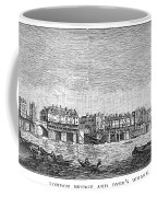 London: Waterfront, 1750. /nlondon Bridge And Dyers Wharf. Wood Engraving After A Painting By S. Scott, C1750 Coffee Mug