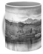Longs Peak And Mt Meeker Sunrise At Golden Ponds Bw  Coffee Mug