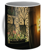 Looking Through Iron Filagree Window Coffee Mug