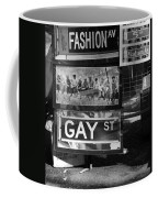 Lunch Time Between Fashion Ave And Gay St In Black And White Coffee Mug by Rob Hans