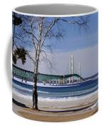 Mackinac Bridge With Trees Coffee Mug