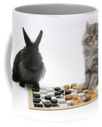 Maine Coon Kitten And Black Rabbit Coffee Mug