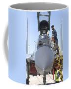 Maintainers Prepare A Sukhoi Su-30 Coffee Mug