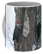 Male And Female Pileated Woodpeckers Coffee Mug
