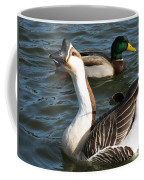 Mallard And Chinese Swan Goose - Anser Cygnoides - Featured In Wildlife Group Coffee Mug