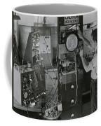 Man Testing Early Television Equipment Coffee Mug