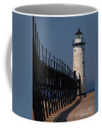 Manistee Harbor Lighthouse And Cat Walk Coffee Mug