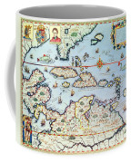 Map Of The Caribbean Islands And The American State Of Florida Coffee Mug