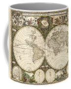 Map Of The World, 1660 Coffee Mug by Photo Researchers