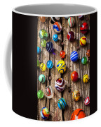 Marbles On Wooden Board Coffee Mug