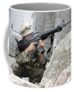 Marine Scans The Area For Enemy Coffee Mug