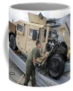 Marine Uses A Pressure Washer To Clean Coffee Mug