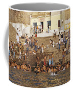 Men And Boys Bathe At An Ancient Ghat Coffee Mug