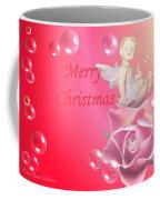 Merry Christmas Cherub And Rose Coffee Mug