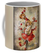 Merry Making Antique Girls In Red And White Grunge Coffee Mug