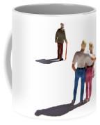 Miniature Figurines Couple Watching Elderly Man Coffee Mug