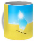 Mirror On Sand In Blue Sky Coffee Mug