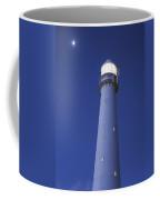 Moon Above Lighthouse At Dusk Coffee Mug