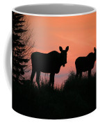 Moose Silhouetted At Sunset Coffee Mug