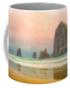 Morning Mist At Haystack Rock Coffee Mug