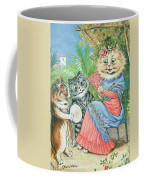 Mother Cat With Fan And Two Kittens Coffee Mug