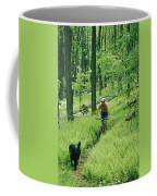 Mountain Biker And Dog On Single Track Coffee Mug