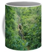 Mountain Biker On Single Track Trail Coffee Mug
