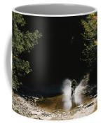 Mountain Biker Splashing Through Water Coffee Mug